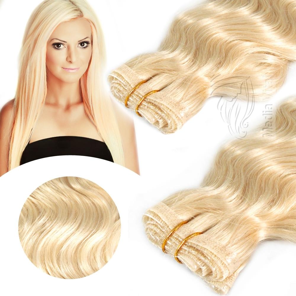 Skin Weft Echthaar PU Tressen Hair Extensions Haarverlängerung 30cmx45cm Gewellt