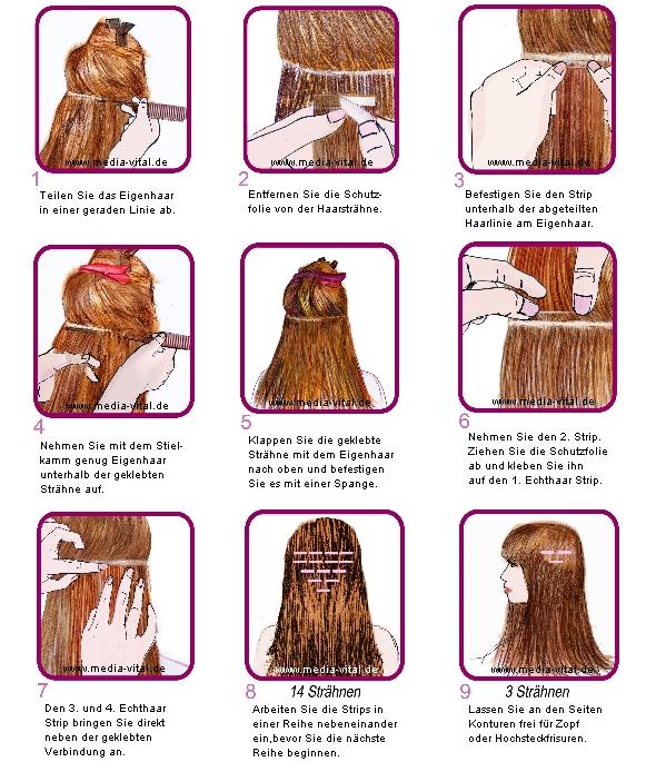 Anleitung Haarverlängerung Echthaar Strähnen mit Tapeband