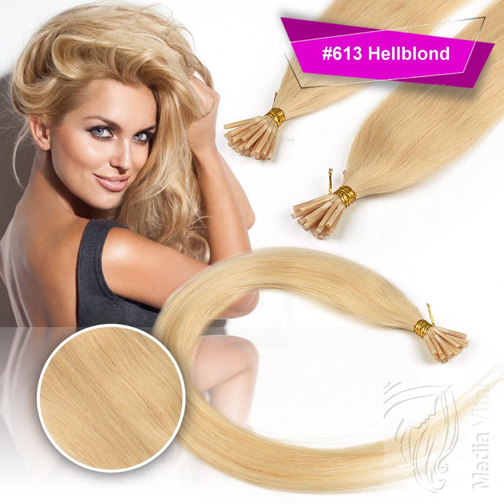 Remy-Echthaar-Extension-Bondings-Haarverlaengerung-Straehnen-Blond-Braun-Schwarz