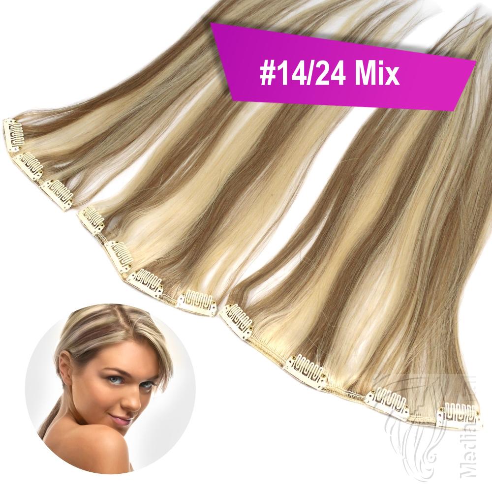 Clip-In-Extensions-Set-40cm-45cm-60-cm-Haarverlaengerung-3-Haarteile-Echthaar