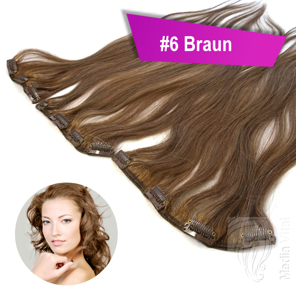 Clip-In-Extensions-Remy-Echthaar-Glatt-3-Tressen-Teile-55g-40cm-Haarverlaengerung