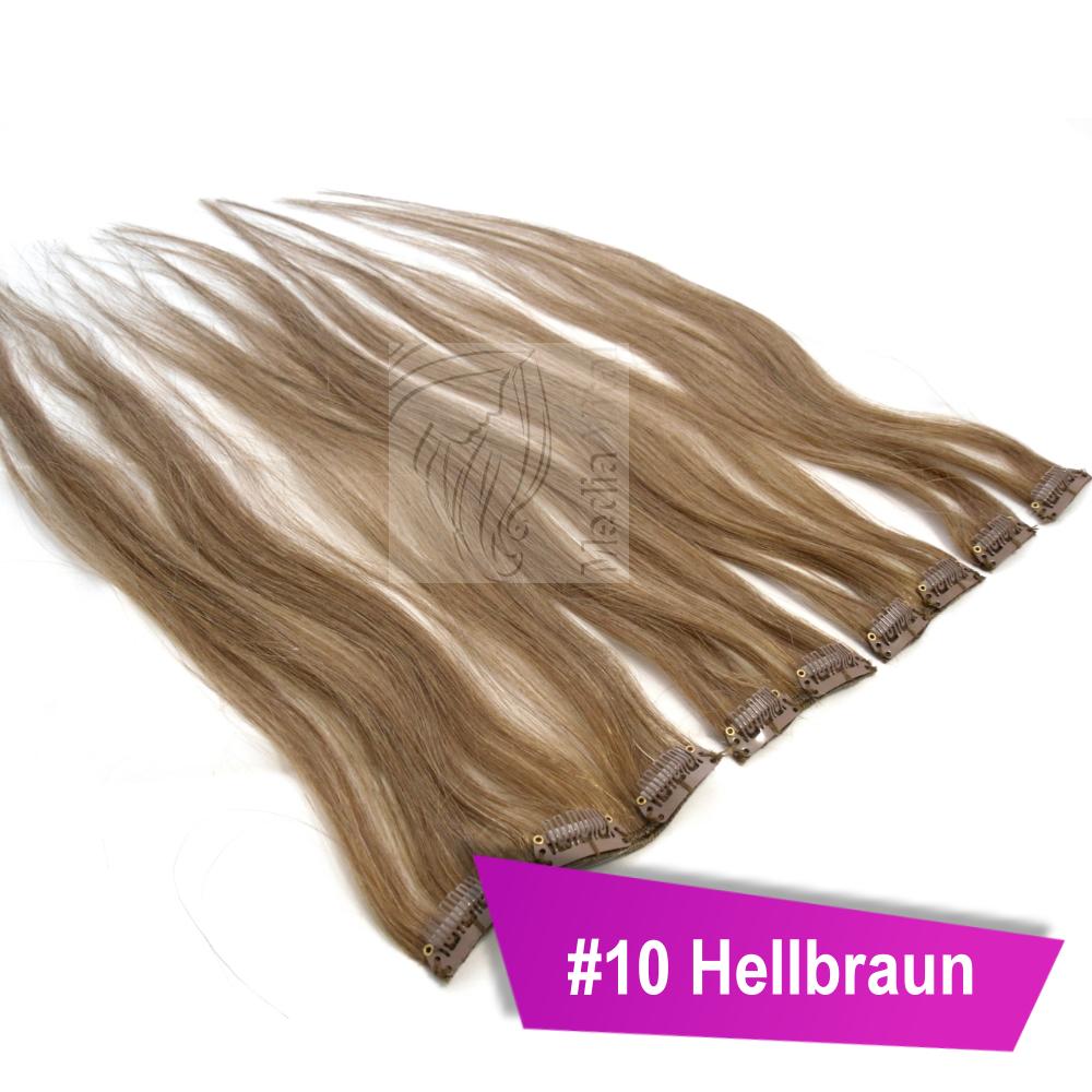 100-Remy-Echthaar-Haarverlaengerung-Haare-Clip-In-Extensions-40-45-60-cm-5-Teile