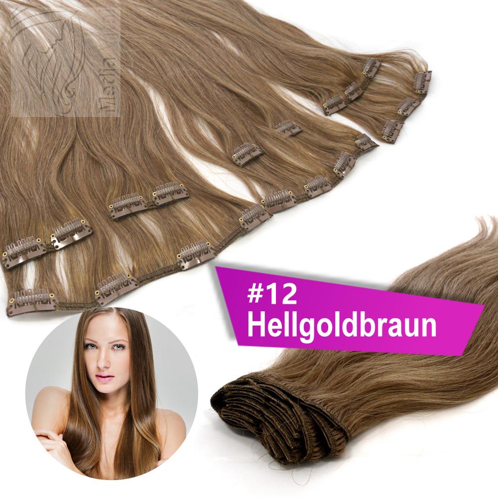 45-cm-60-cm-Clip-In-13-Tressen-145g-Echthaar-Extensions-Haare-Haarverlaengerung