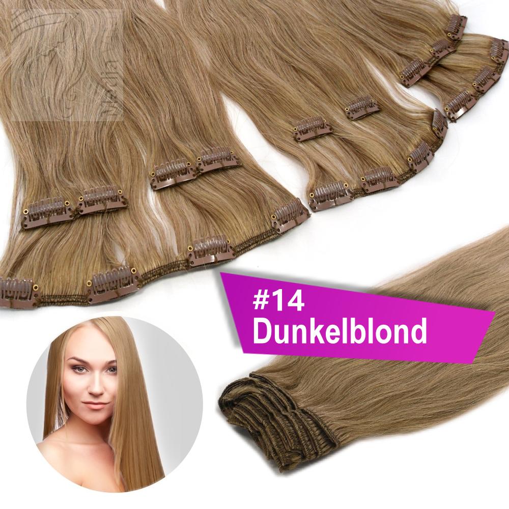 40cm-45cm-60cm-Clip-In-Extensions-100-Remy-Echthaar-Haarverlaengerung-Haare