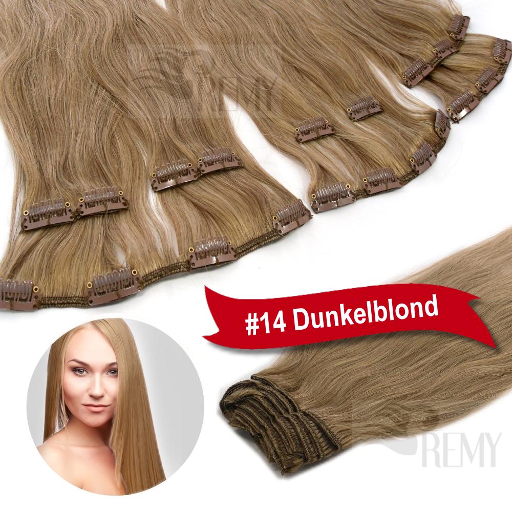 Remy-Haarverlaengerung-Clip-In-Extensions-Echthaar-Echte-Haare-13-Tressen-Dick