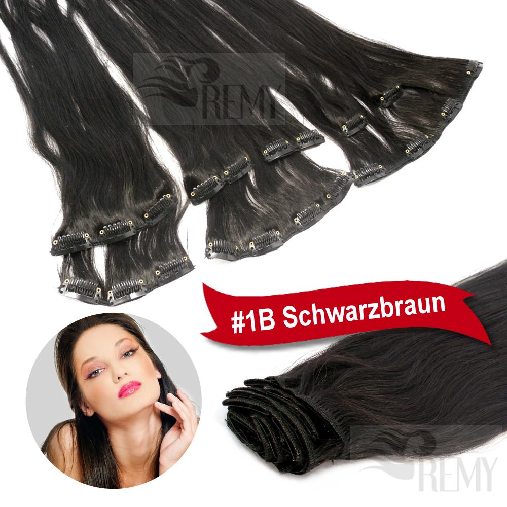 Clip-In-Extensions-Clip-On-Haarteile-40-45-60-cm-Indisches-Remy-Echthaar-Tressen
