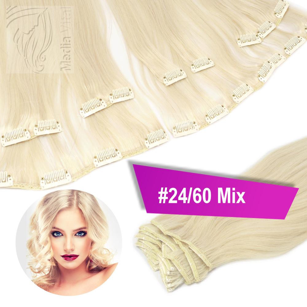 40cm-45cm-60cm-Clip-In-Set-Echthaar-Extensions-Haarverlaengerung-3-5-8-13-Tressen
