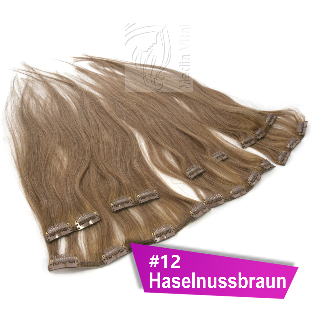 8 tressen 40 cm 45 cm 60 cm clip in extensions clip in on haare remy echthaar ebay. Black Bedroom Furniture Sets. Home Design Ideas