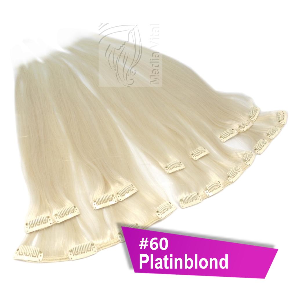8-Tressen-100g-Echthaar-Extensions-Straehnen-Clip-In-Haarverlaengerung-40-45-60-cm