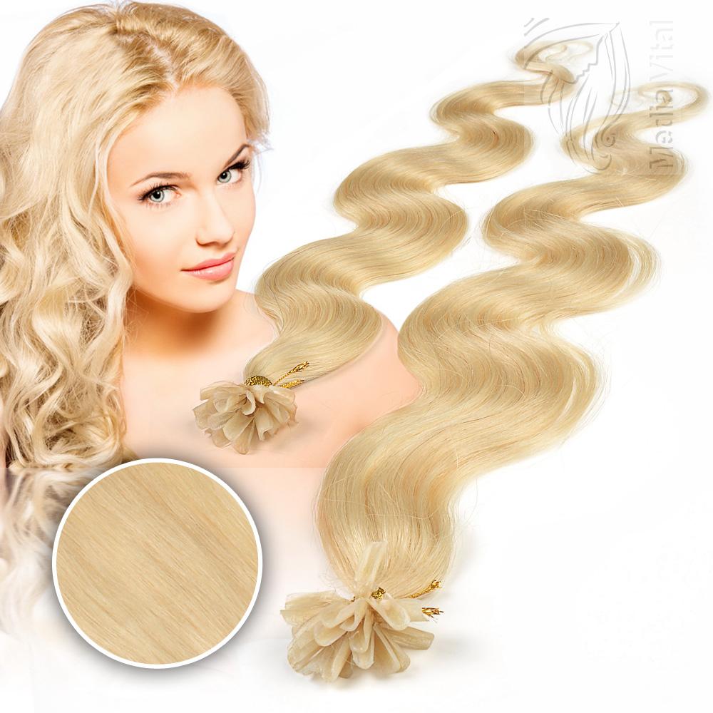 80 Remy Echthaar Extensions 1g 45 cm Bondings Wärmezange Haarverlängerung Wellig