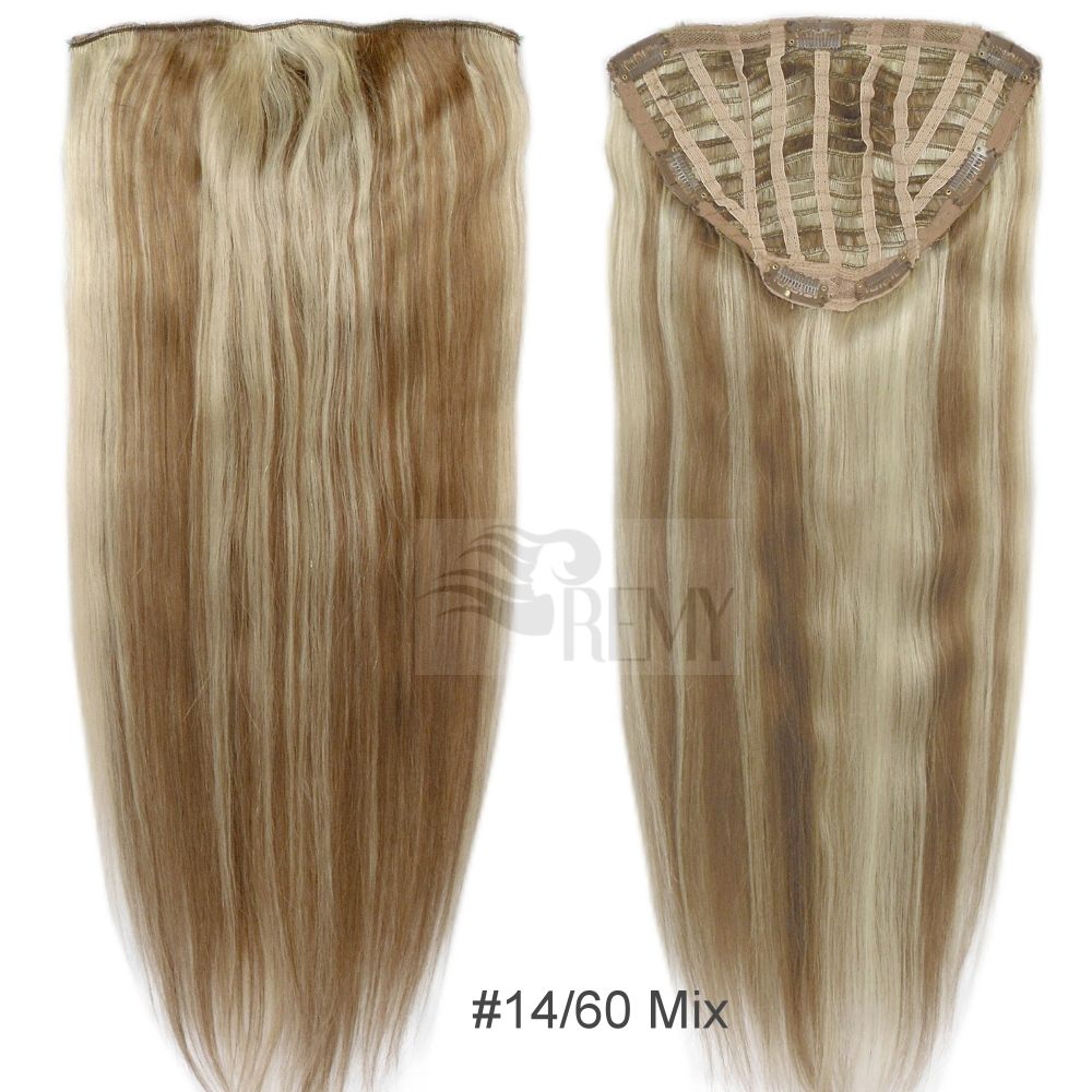 haarteil clip in extensions 100g remy echthaar str hnen 50 cm halbper cke ebay. Black Bedroom Furniture Sets. Home Design Ideas