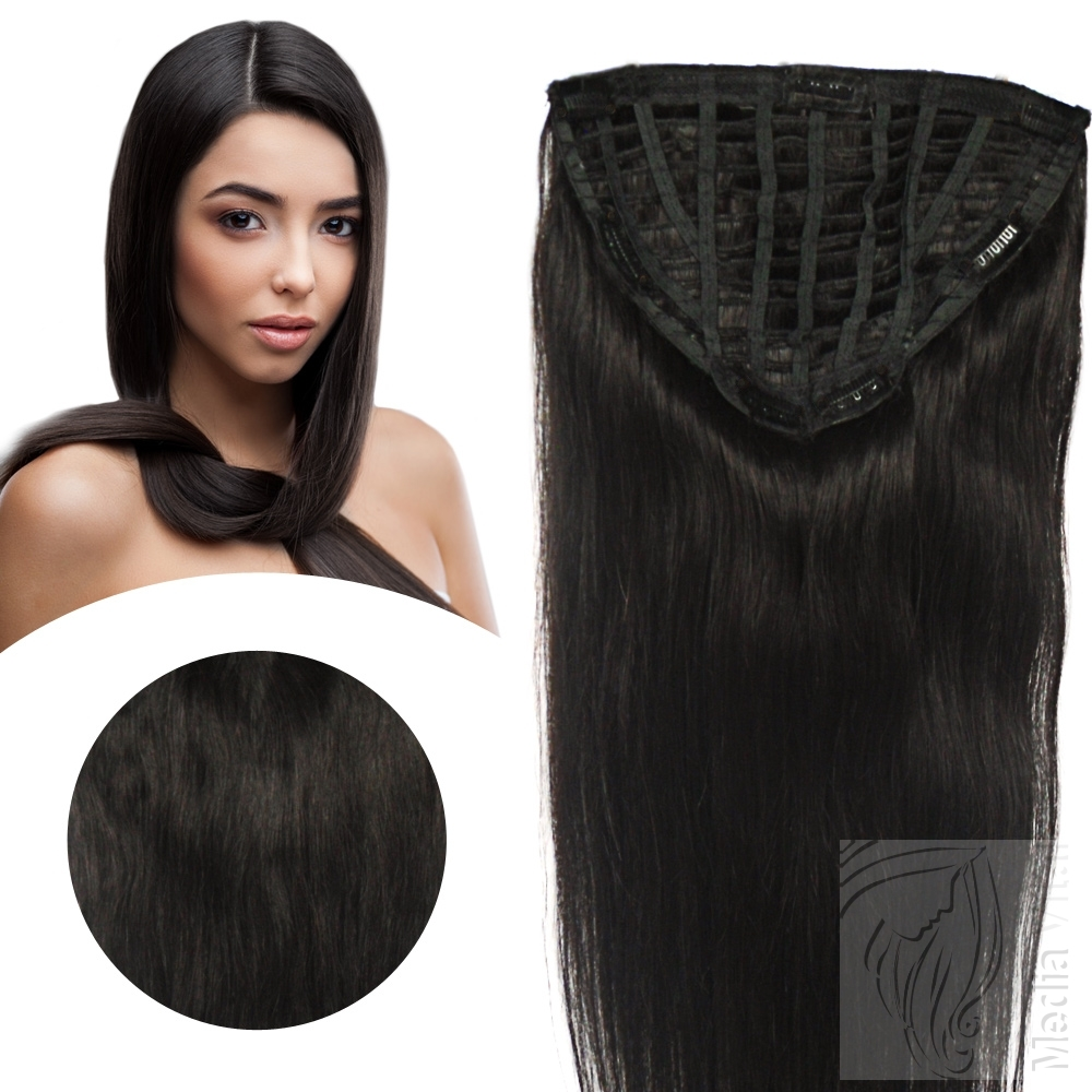 7-Clip-Haarteil-70g-35cm-Clip-In-Extensions-Remy-Echthaar-Straehnen-10-Clips