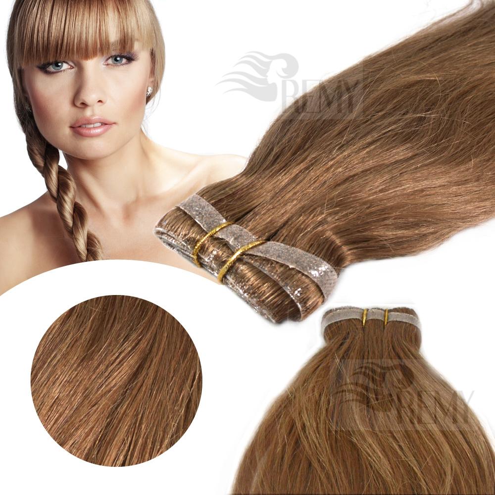 skin weft pu echthaar tressen 30 cm haarverl ngerung remy hair extensions ebay. Black Bedroom Furniture Sets. Home Design Ideas