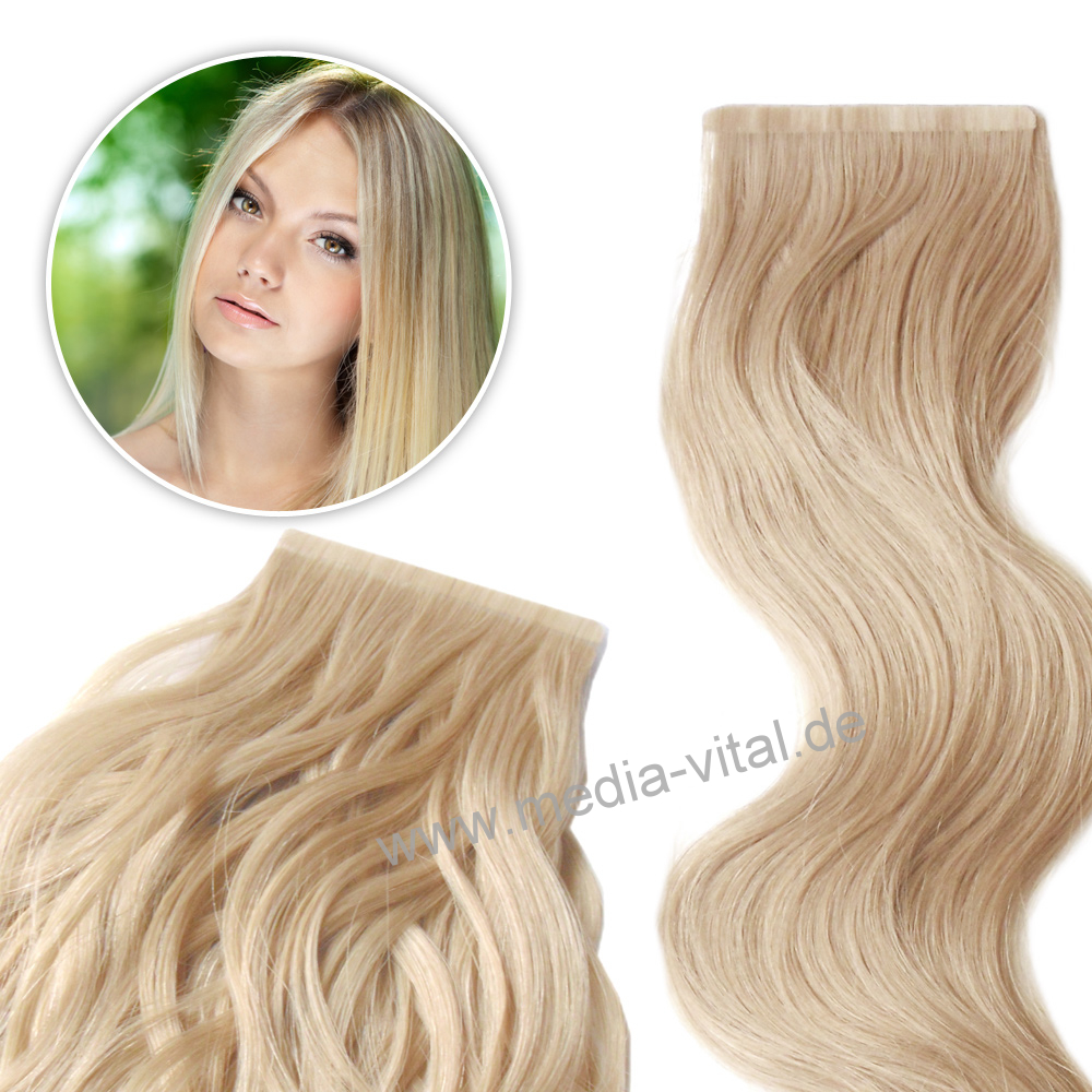 tape on 8cm hair extension echthaar str hnen 30 45 60 haarverl ngerung tape hair ebay. Black Bedroom Furniture Sets. Home Design Ideas