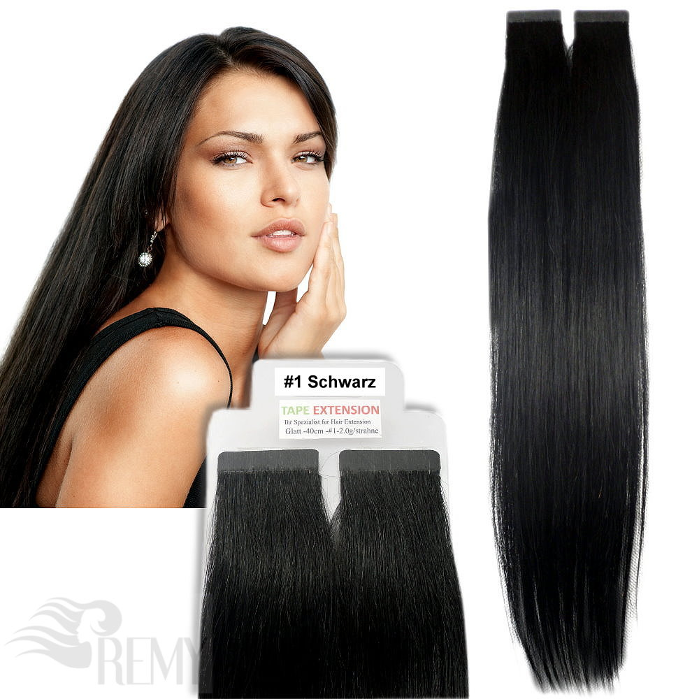 Remy-Echthaar-Tape-In-On-Extensions-40cm-45cm-60cm-Haarverlaengerung-2-5g-Tresse