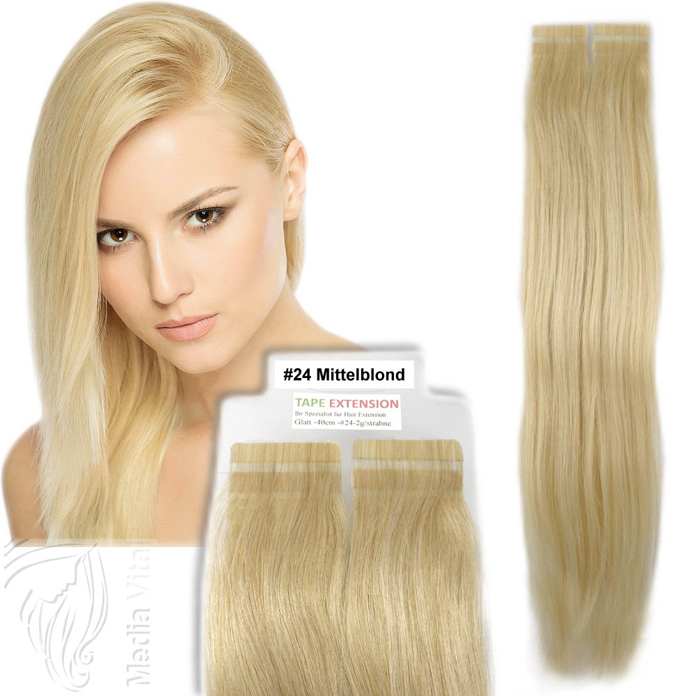Tressen-Echthaar-Tape-In-On-Extensions-Haarverlaengerung-2-5g-Tresse-40-45-60-cm