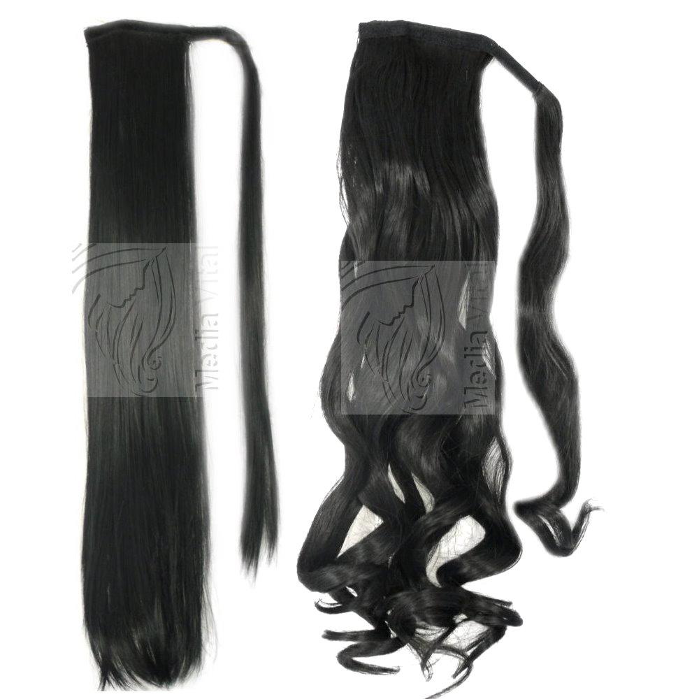 Haarteil-Zopf-Pferdeschwanz-Ponytail-Haarverlaengerung-Verdichtung-30cm-50cm-60cm
